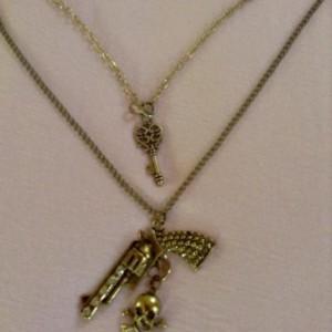 Bronze and Rhinestone Gun Necklace Handmade; One of a Kind