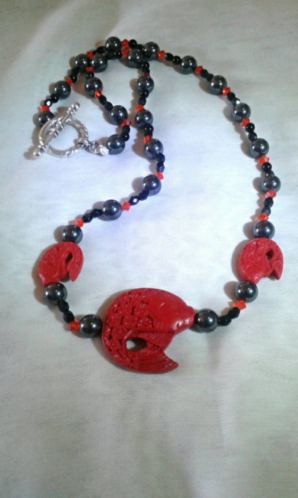Carnelian Fish and Hematite Good Luck Necklace