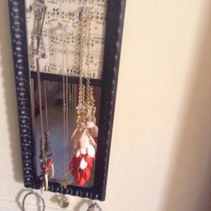 Sheet Music with Mirror Cork Board Jewelry Hanger