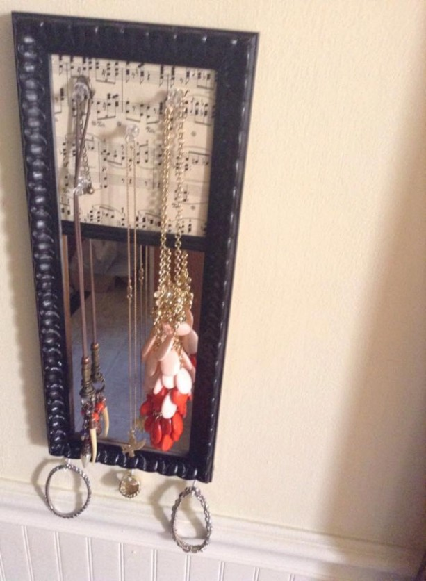 Sheet Music with Mirror Cork Board Jewelry Hanger