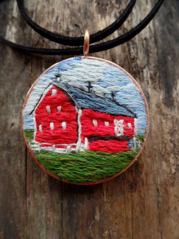 Red Barn Hand Embroidered Necklace