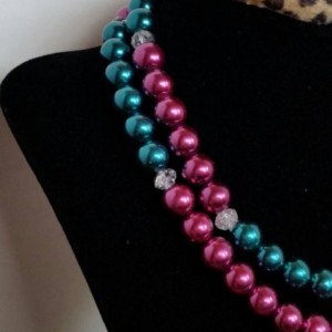 Pearl necklace- teal and magenta glass pearl necklace with sparkling crystals- handmade in texas by texas artisan