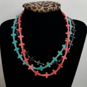 Cross Necklace- handmade multistrand, black, coral, turquoise cross necklace with silver accent beads
