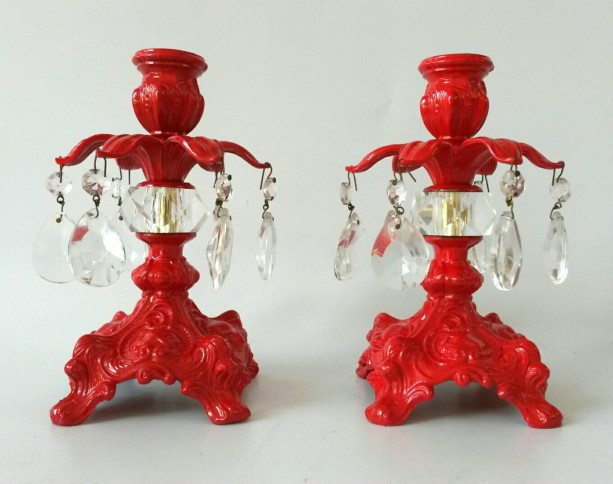 Pair of Candlesticks Red Painted Brass Candle Holder Candelabra Chrystal Teardrop Hanging Glass Chrystals Romantic Boudoir Lighting Candles