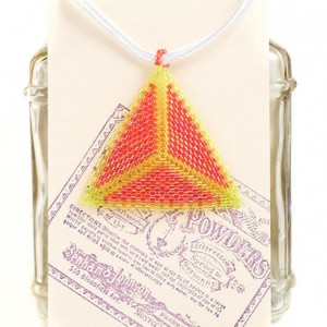 Beaded Triangle Necklace // Orange and Yellow // Seed Beads // Beadwork