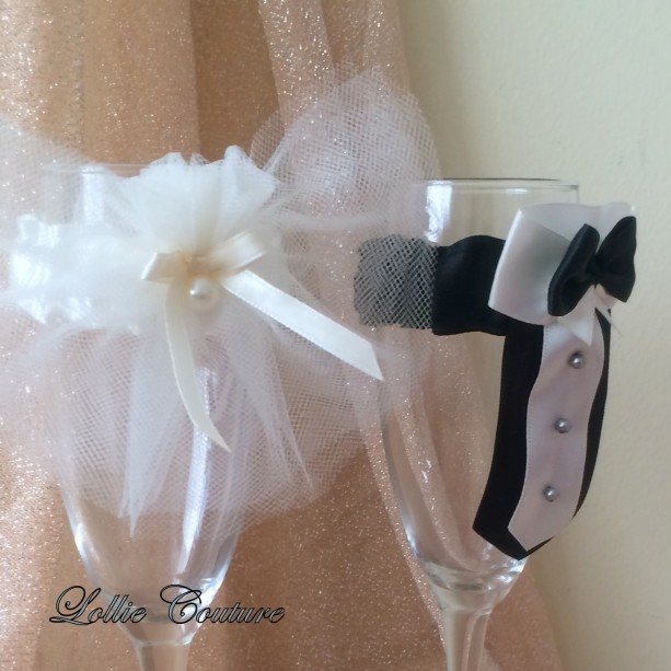Wedding Glass Champagne Toasting Glass Bride Groom Mr Mrs ...
