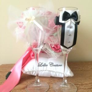 Wedding Glass Champagne Toasting Glass Bride Groom Mr Mrs Reception Wedding Glasses