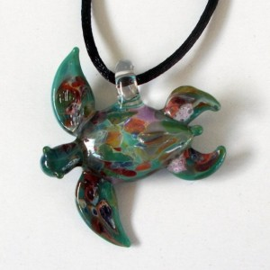 Our Larger Aqua Hand Blown Glass Sea Turtle Pendant, Necklace, Focal Bead