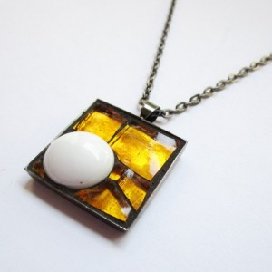 Tangerine Coconut Candy Mosaic Art Pendant, Square Abstract Micro Mosaic, Orange and White Glass Necklace, Metallic Reflective, Gunmetal