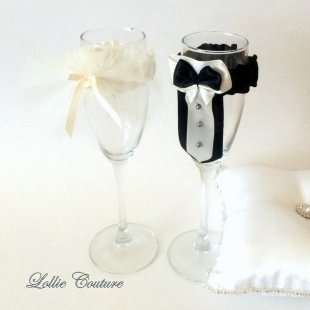 Wedding Glass Champagne Toasting Glass Bride Groom Mr Mrs