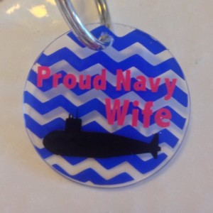 Personalized submarine navy wife keychain- Navy Wife, Support, Submarine, Military, Proud, Love, Keychains, Arcylic
