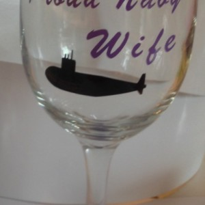 Personalized Proud Navy Wife Submarine Wine Glass- Navy-submarine-Proud Navy Wife-Navy Wife-Support-Military