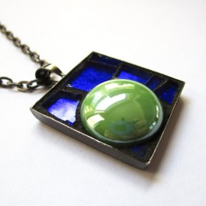 Blueberry Lime Candy Mosaic Art Pendant, Square Abstract Micro Mosaic, Gunmetal, Green and Blue Glass Necklace, Metallic Reflective Necklace