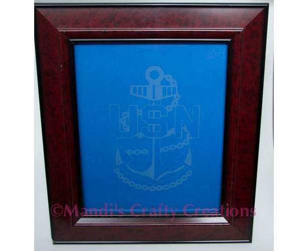 Military Navy Chief Anchor Personalized Glass Etched Frame Etchi