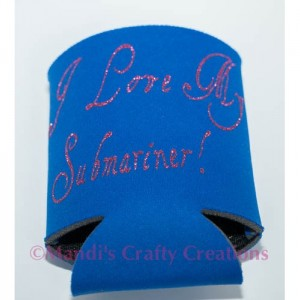 Personalized submarine navy wife koozie
