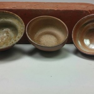 Three Wood Fired Porcelain Tornado Bowls - Ceramic Prep or Spice Bowls - Little Sauce Bowls