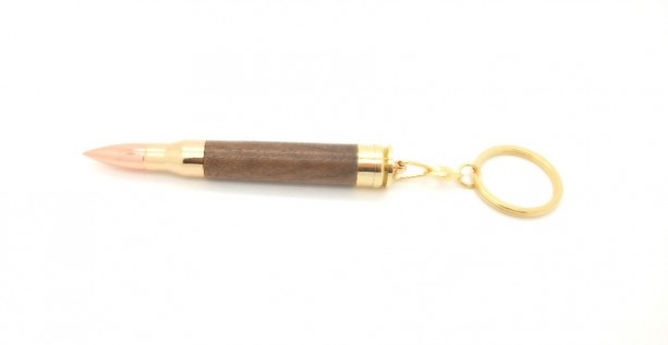Artisan Magnum Bullet Keychain featuring Walnut, bullet key ring with .300 Win Mag, handmade secret compartment keychain, gun themed gift