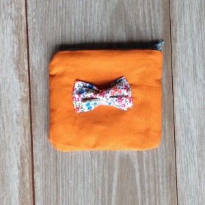 Orange with Flower Bow Mini Zipper Pouch - Change Purse