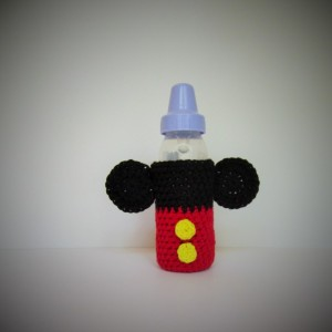 Crochet baby bottle cozy, baby bottle cover, crochet bottle cover, bottle cover, Mickey Mouse bottle cover, bottle cozy, bottle coozie, baby
