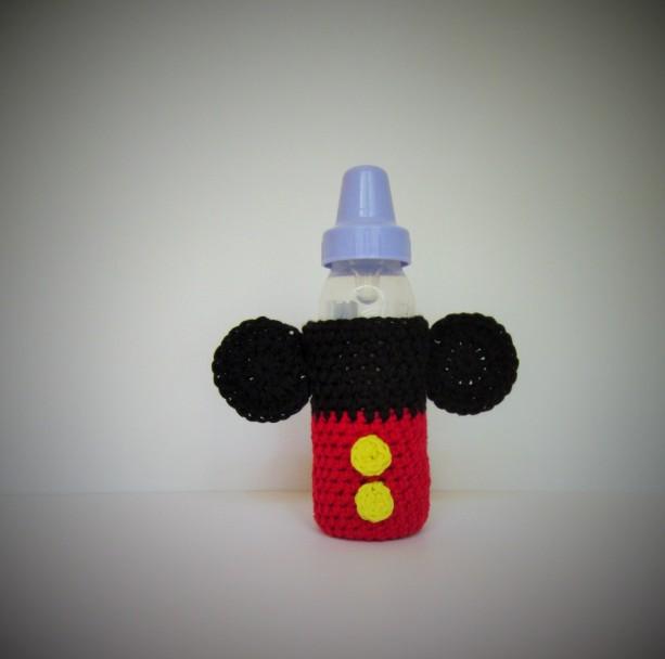 Crochet baby bottle cozy, baby bottle cover, crochet bottle cover, bottle cover, Mickey Mouse bottle cover, bottle cozy, bottle coozie, baby