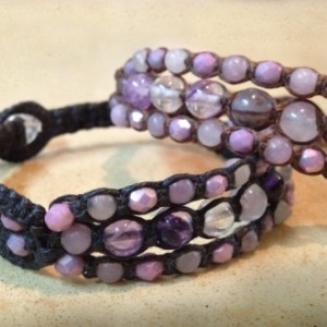 Amethyst, Purple Fluorite & Lilac Stone Macramé Cuff on BLACK Linen Cord, Triple Wrap Bracelet, Gemstone Layered Bracelet