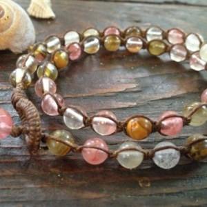 Pink Watermelon Quartz Macrame Bracelet, Double Wrap Bracelet, Boho Chic Gemstone Layered Bracelet