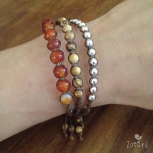 Carnelian, Jasper & Silver Macramé Bracelet, Triple Wrap Bracelet, Boho Chic, Gemstone Layered Bracelet