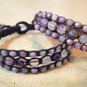 Amethyst, Purple Fluorite & Lilac Stone Macramé Cuff on BLACK Linen Cord, Triple Wrap Bracelet, Gemstone Layered Bracelet