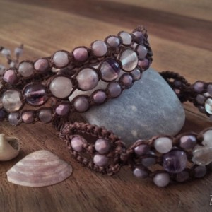 Amethyst, Purple Fluorite & Lilac Stone Macramé Cuff on BROWN Linen Cord, Triple Wrap Bracelet, Gemstone Layered Bracelet