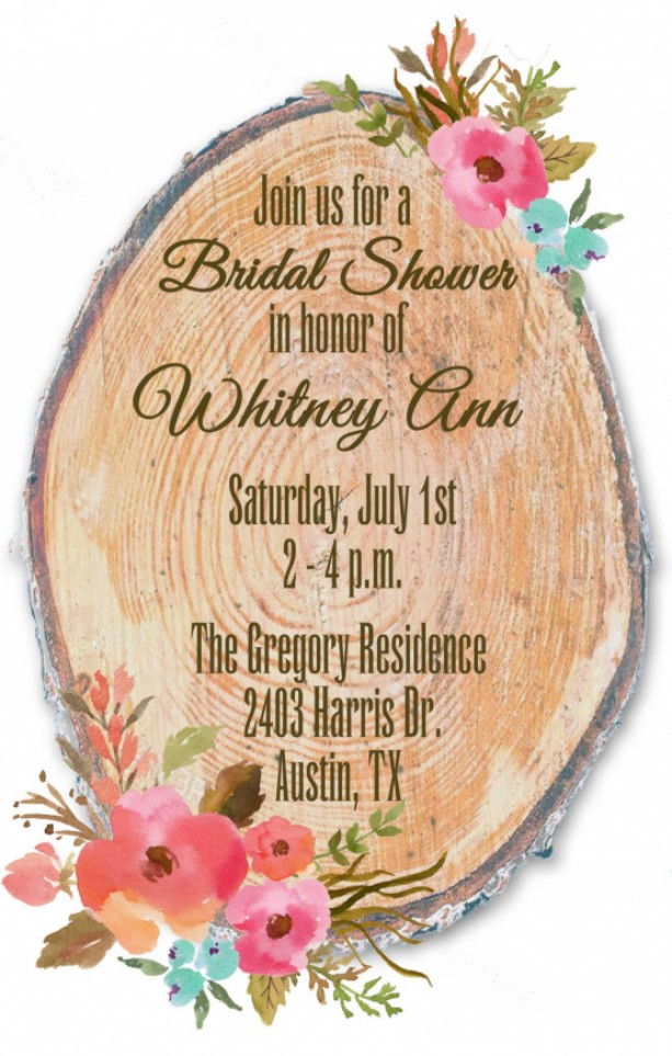 custom floral and tree ring wedding shower invitation country bridal shower invitation
