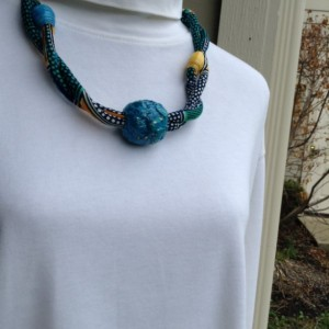 African Print Fabric Cord Necklace