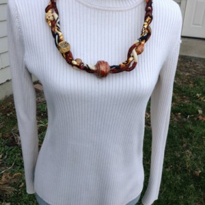 African Print Braided  Cord Necklace with Recycled Paper Focal Bead - Wooden Bead Accents