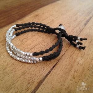 Silver Nugget Triple Wrap Bracelet, Twisted Macramé Bracelet, Boho Chic, Silver Layered Bracelet