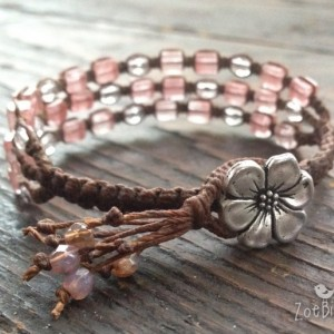 Cherry Quartz & Czech Glass Macramé Bracelet w/Flower Closure, Triple Wrap Bracelet, Gemstone Layered Bracelet