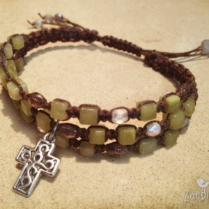 Olive Jade & Czech Glass Macramé Bracelet w/Cross Charm, Triple Wrap Bracelet, Gemstone Layered Bracelet