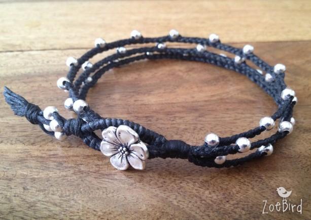 Silver Le Blossom Triple Wrap Bracelet Braided Boho Chic Layered