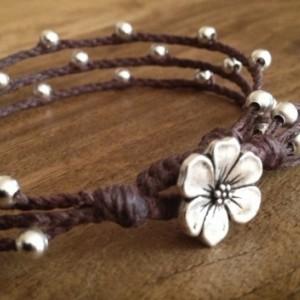Silver Apple Blossom Triple Wrap Bracelet, Braided Bracelet, Boho Chic, Silver Layered Bracelet
