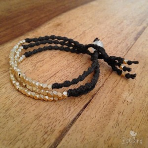 Golden Nugget Triple Wrap Bracelet, Twisted Macramé Bracelet, Boho Chic, Layered Bracelet
