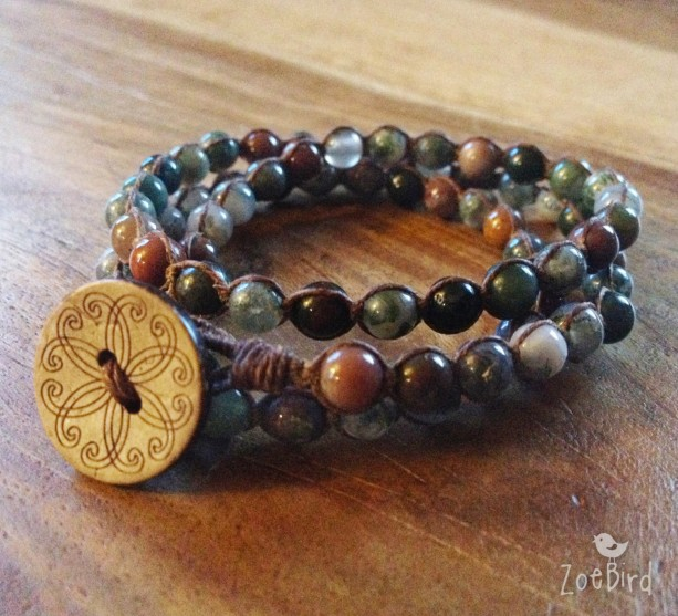 Fancy Jasper Macramé Bracelet, Triple Wrap Bracelet, Boho Chic Gemstone Layered Bracelet