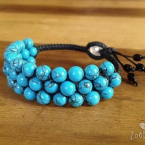 Blue Howlite Macramé Cuff, Triple Wrap Bracelet, Boho Chic Gemstone Layered Bracelet