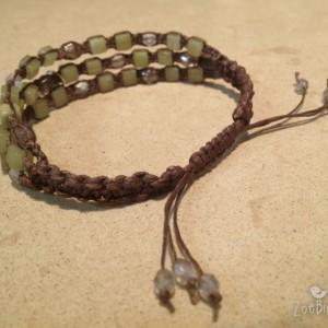 Olive Jade & Czech Glass Macramé Bracelet w/Cross Charm, Triple Wrap Bracelet, Gemstone Layered Bracelet