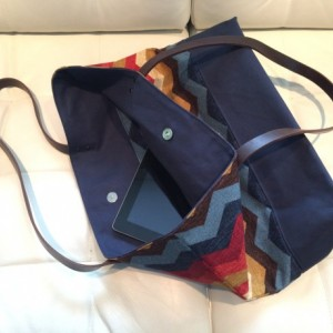 Large Tote Bag /// Multi-Colored Chevron with Navy Canvas Bottom and Brown Buffalo Leather Straps