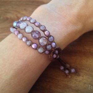 Mommy and Me Macramé Bracelets, Matching Mother Daughter Bracelets, Purple Fluorite and Amethyst Bracelets, Boho Chic