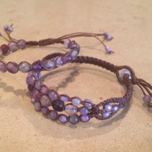 Mommy and Me Macramé Bracelets, Matching Mother Daughter Bracelets, Purple Fluorite and Amethyst Bracelets, Boho Chic