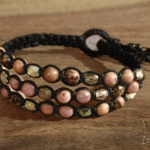 Pink Rhodonite Macramé Cuff, Triple Wrap Bracelet, Boho Chic Gemstone Layered Bracelet