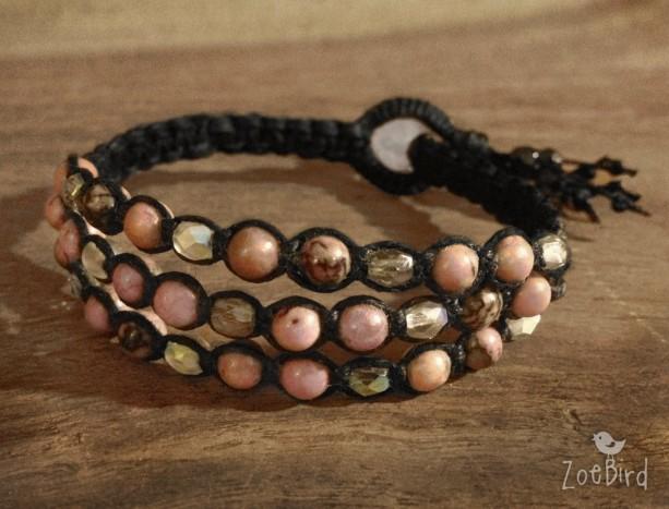 Pink Rhodonite Macramé Cuff, Triple Wrap Bracelet, Boho Chic Gemstone Layered Bracelet