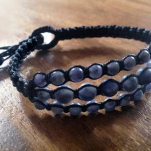Blue Aventurine Macramé Cuff, Triple Wrap Bracelet, Boho Chic Gemstone Layered Bracelet
