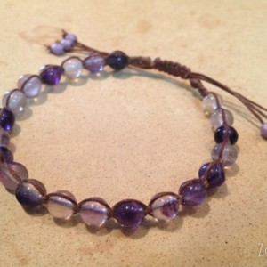 Mommy And Me Macramé Bracelets Matching Mother Daughter Purple Fluorite Amethyst