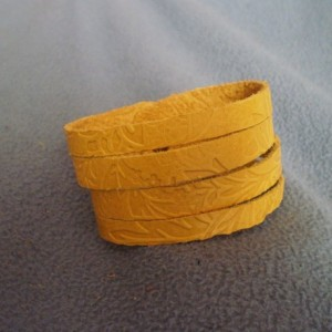 Yellow Embossed Multi Strand Leather Cuff Bracelet