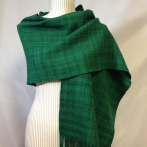 Handwoven Emerald wool shawl